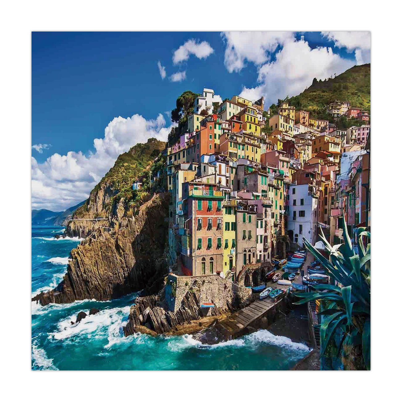 iPrint Polyester Square Tablecloth,Farm House Decor,Italian Mediterranean House by Cliffs Dramatic Weather Sea Cinque Terre Print,Multi,Dining Room Kitchen Picnic Table Cloth Cover,for Outdoor Indoor