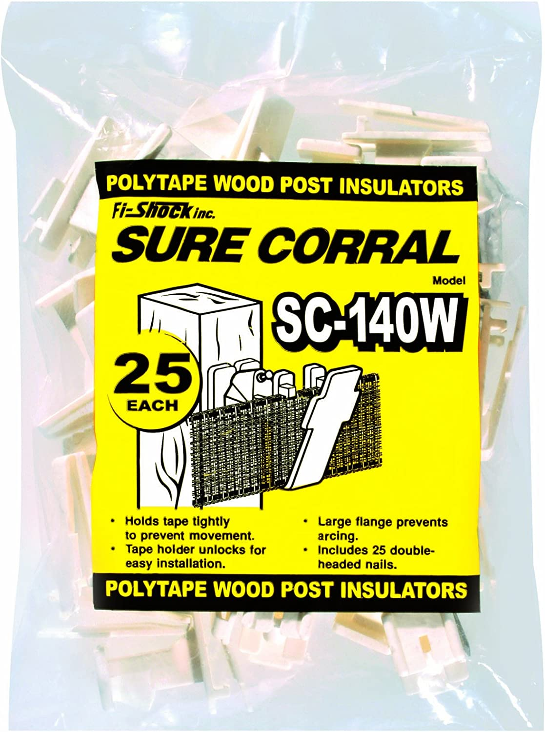 Fi-Shock SC-140W White Polytape Wood Post Insulator, 25-Per Bag