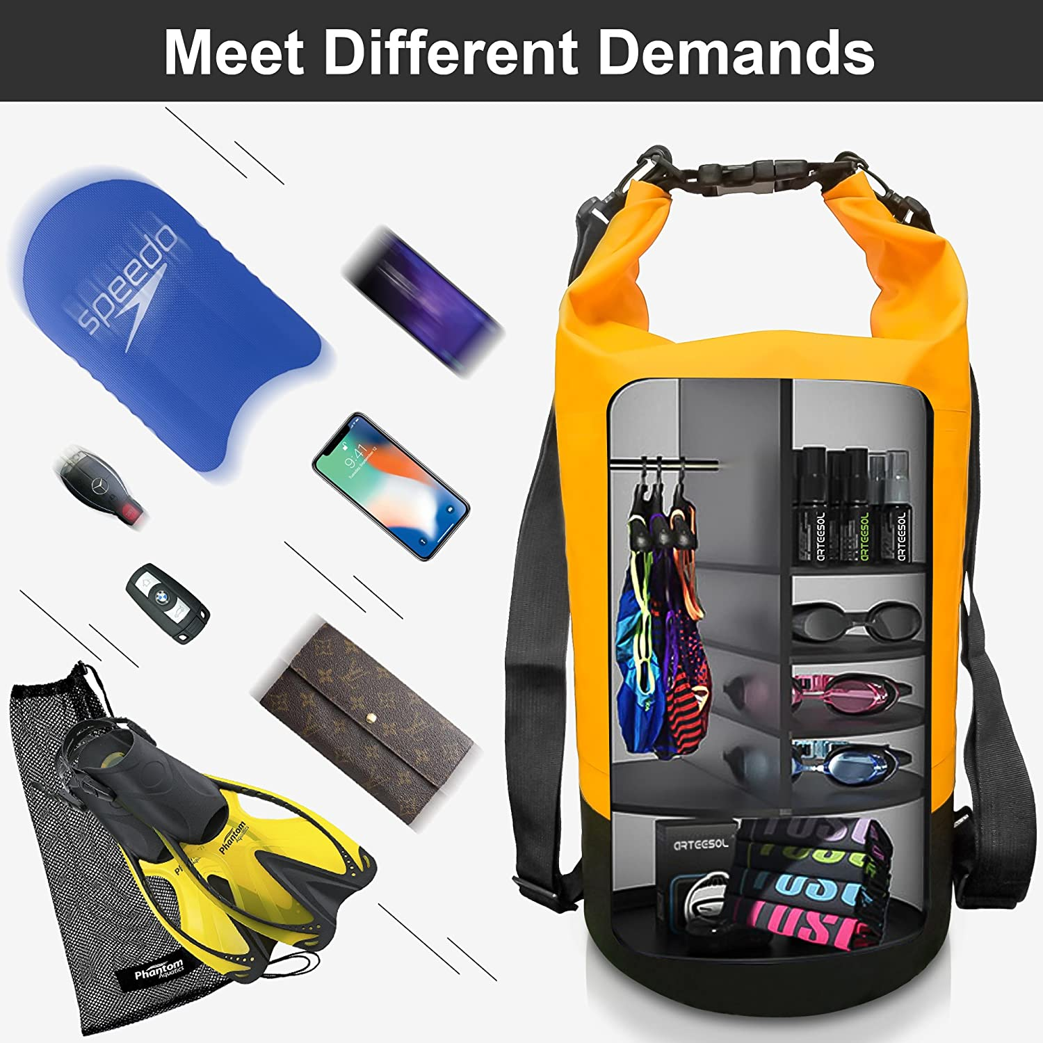 arteesol Waterproof Bag 5L//10L//20L//30L Dry Bag Rucksack with Double Shoulder Strap Backpack for Swimming Kayaking Boating Fishing Traveling Cycling Beach