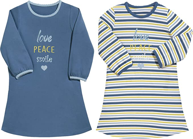 b169641ee43 Kinderbutt Nachthemd 2er-Pack mit Druckmotiv Interlock-Jersey Single-Jersey  gestrickter Ringel blau