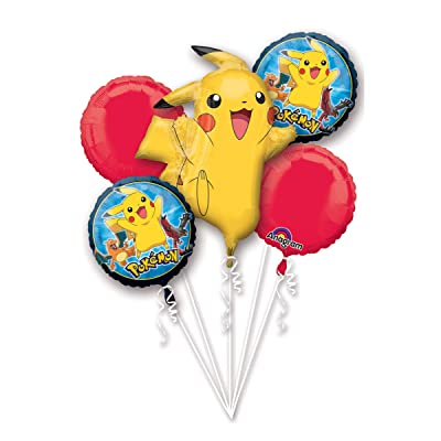 Anagram Pokemon Pikachu and Friends 5 Mylar Balloons Bouquet ~ Party Supplies: Toys & Games
