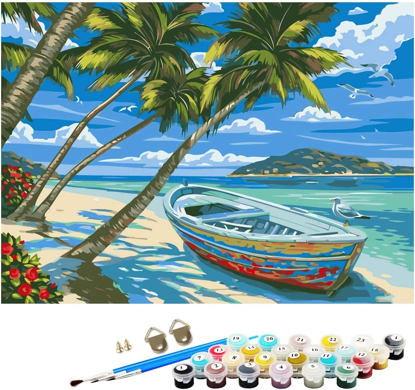 45x55 Beach Paint by Number,DIY Paint by Numbers for Adults Kids Beginner,Oil Painting on Canvas,Drawing Paintwork with Paint Brushes,16x20-Paint by Number Kits Arts Craft for Home Decor