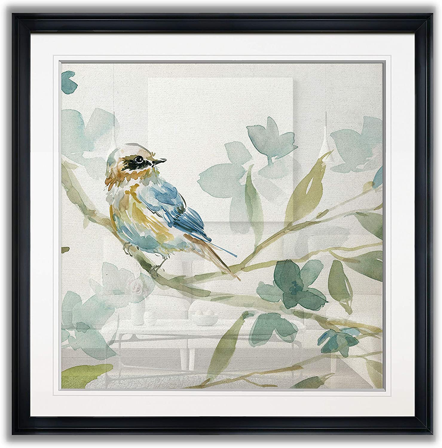 Renditions Gallery Spring Melody I Contemporary Artwork Bird Art Framed Scenic Giclee Canvas Prints Animals Wall Decor Painting, 16 x 16, Black