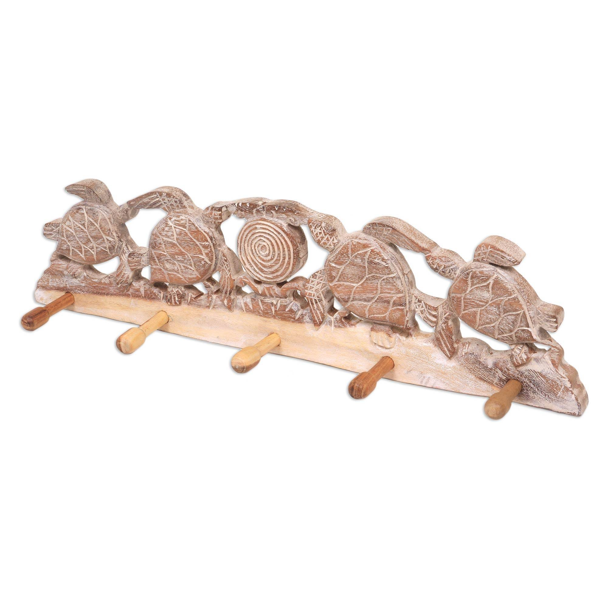 NOVICA Animal Themed Wood Wall Mounted Coat Hanger, Brown and White, Turtle Bay Beach' by NOVICA (Image #4)