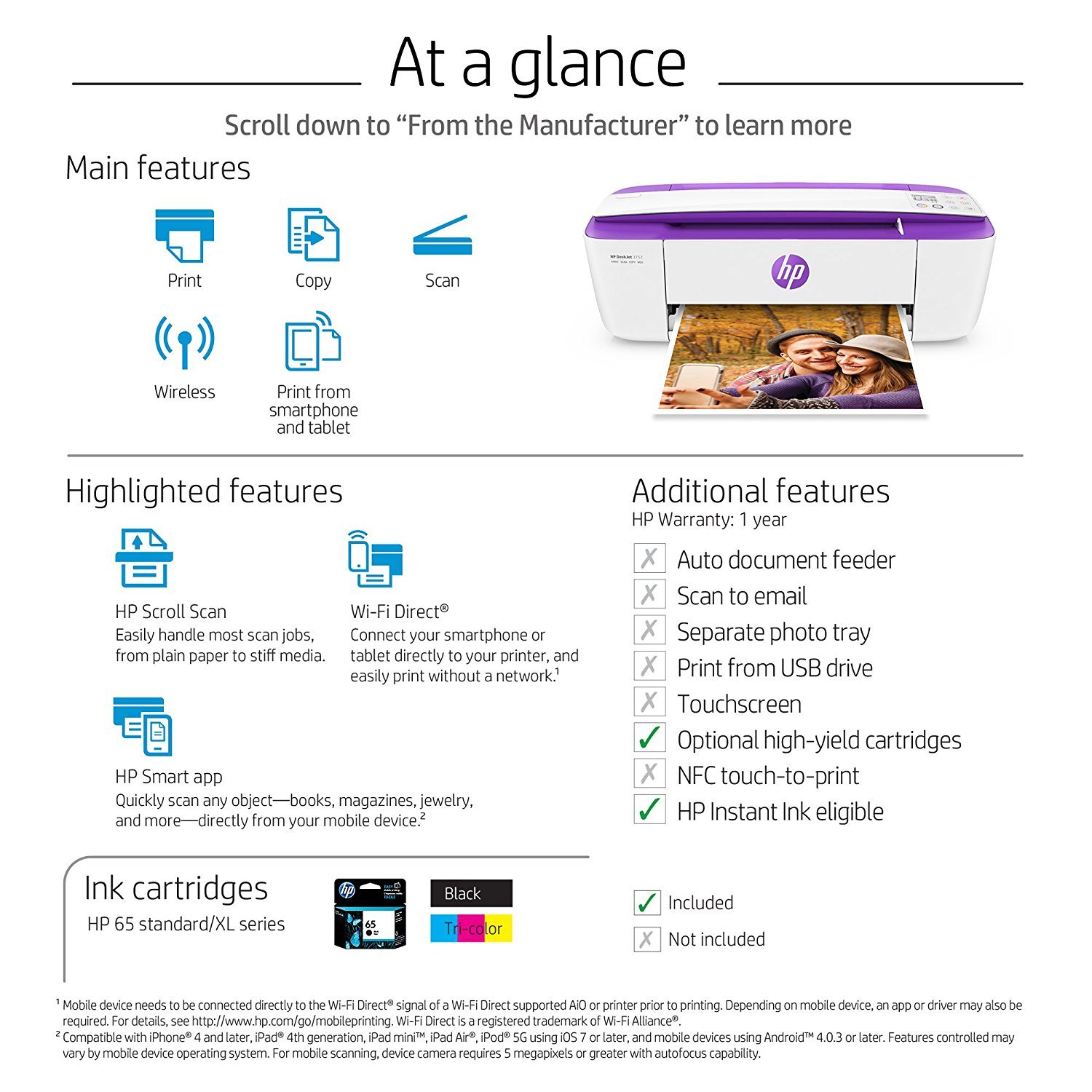 HP DeskJet 3752 Wireless All-in-One Compact Printer with Mobile