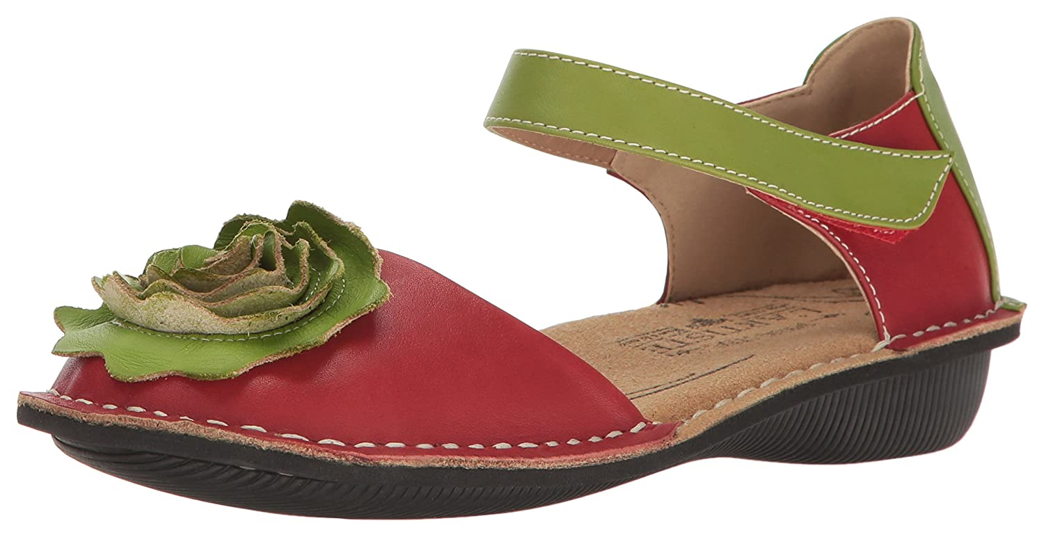L'Artiste by Spring Step Women's Caicos-Rd Mary Jane Flat B01NA7SJEC 35 M EU / 5 B(M) US|Red/Multi