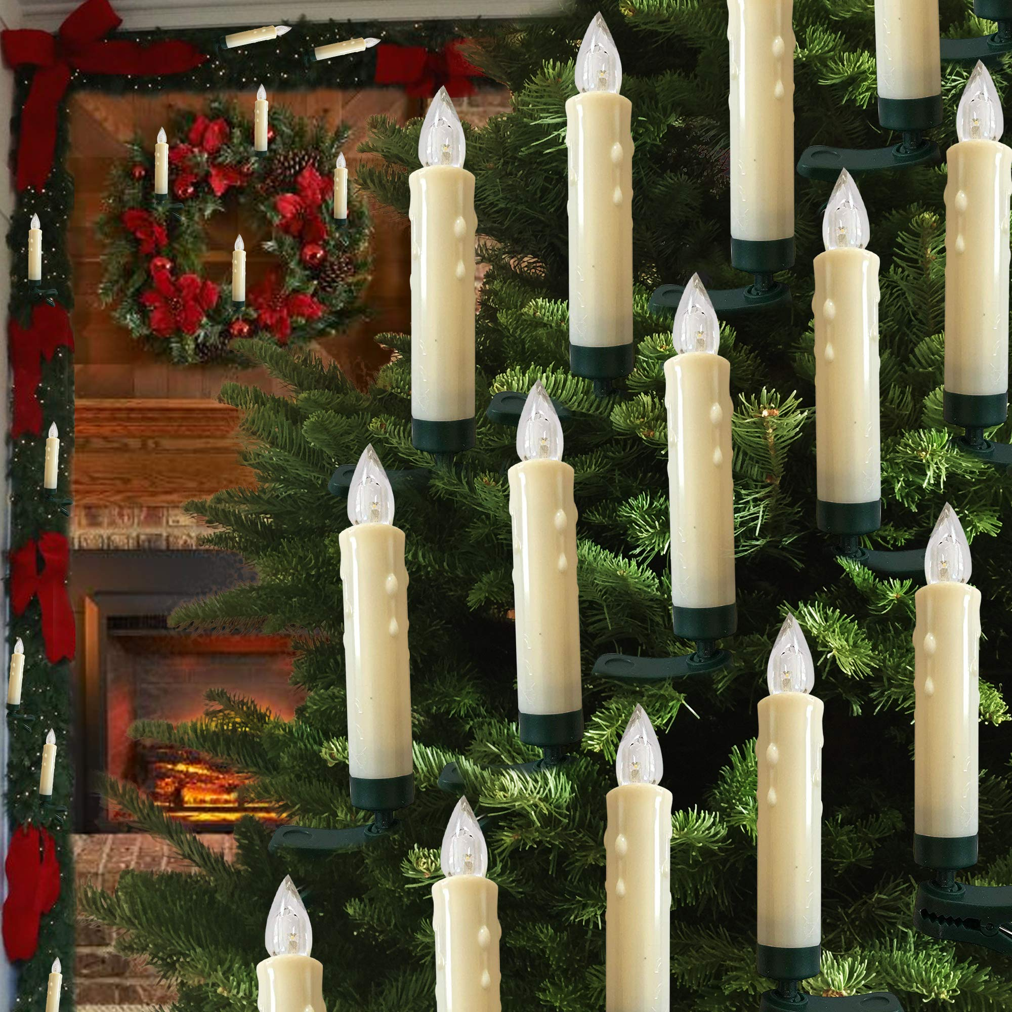 Hoolees' 20 Pcs LED Christmas Tree Candle Lights, Wireless, Flameless, Flickering, Battery Operated, Clip-on, TUV Listed, Remote Control, for Christmas Tree Decorations and Ornaments. (20 Pcs Ivory) by Hoolees
