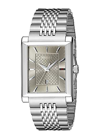 Gucci G-Timeless Rectangle Stainless Steel Mens Watch(Model:YA138402)