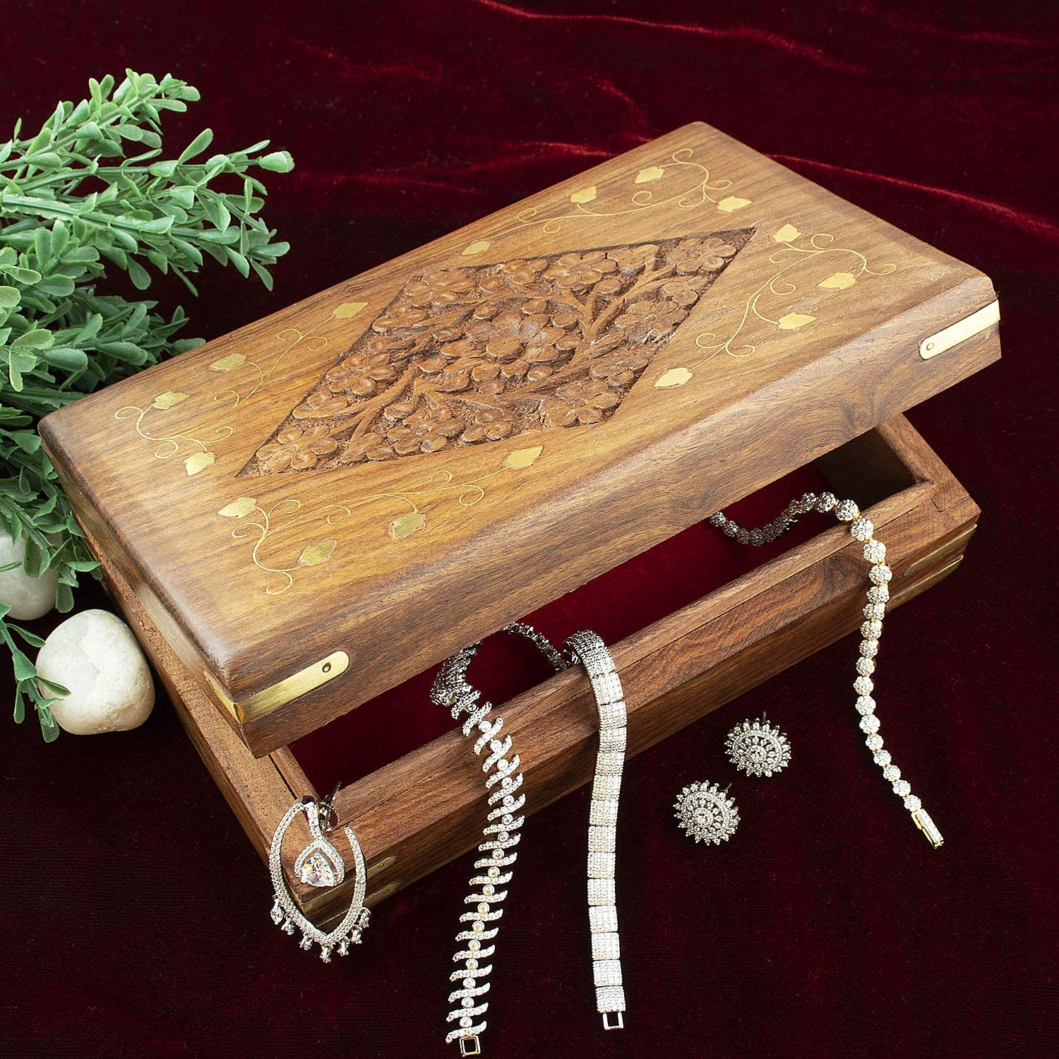 Aheli Wooden Jewelry Keepsake Trinket Box Multipurpose Storage Organizer with Intricate Floral Carvings Brass Inlay Home Decorative