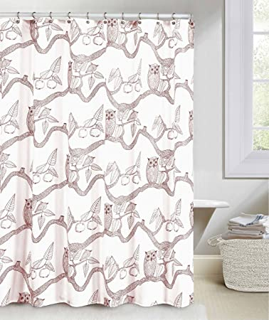 Great White And Cranberry Fabric Shower Curtain: Owl And Apple Tree Design