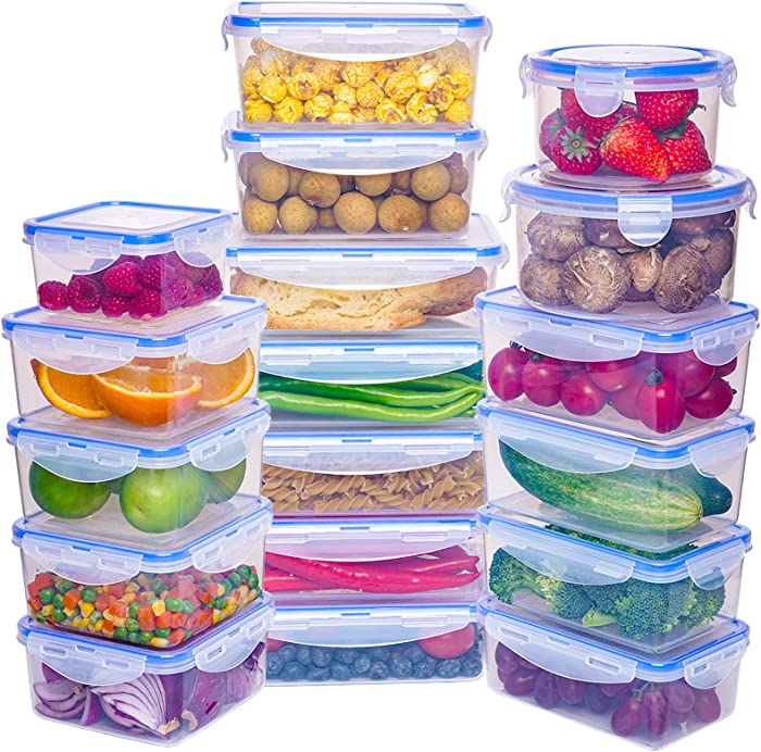 18 Pack Large Capacity Food Storage Containers Set - Airtight Plastic Food Containers with Easy Snap Lids - 100% Leak Proof Food Containers with Lids - Plastic Storage Containers with Lids - BPA-Free