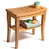 Shower Bench Seat Bamboo Shower Seat Shaving Stool, Spa Bath Bench with Storage Shelf - By: Bambüsi