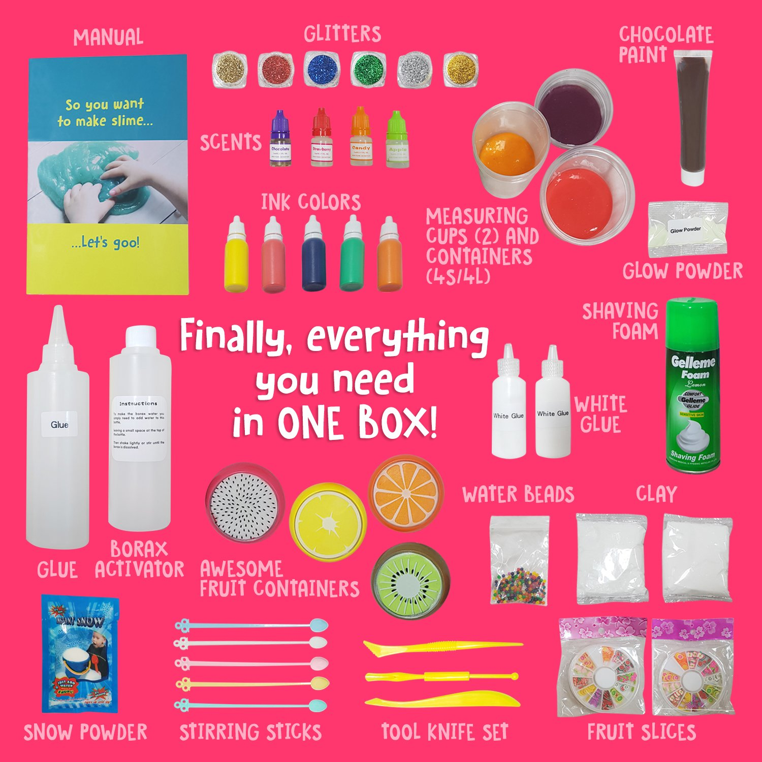 Ultimate Slime Kit Supplies Stuff for Girls and Boys Making Slime [EVERYTHING IN ONE BOX] Kids can Make Unicorn, Glitter, Cloud, Rainbow Slimes and More. Includes Glue and Full instructions. by Original Stationery (Image #3)
