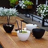 Kenley Ensemble de Bol à Nouilles Riz ou Soupe pour Repas Asiatique Japonais Chinois Thaï Ramen Miso Curry Plats Oriental - 2 Bols en Porcelaine avec Cuillères en Céramique et Baguettes - Micro-Ondes