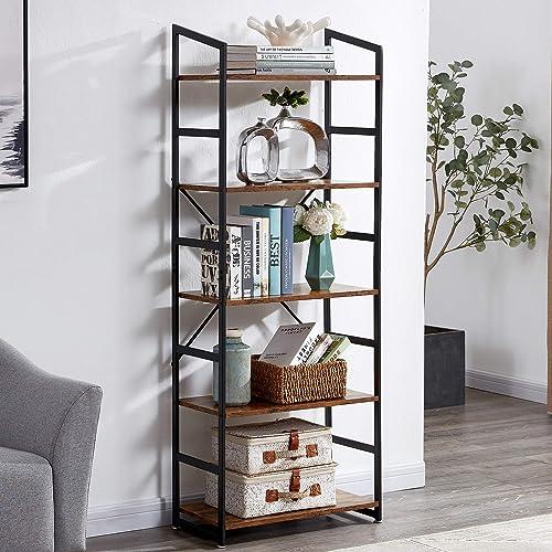 SUPERJARE 5-Tier Industrial Bookshelf