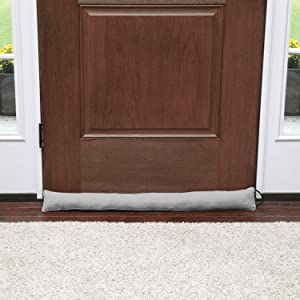 HOME DISTRICT Draft Dodger - Faux Suede Weighted Door and Window Breeze, Bug, Noise Guard Stopper Blocker - 35.5 Inches Long - Gray