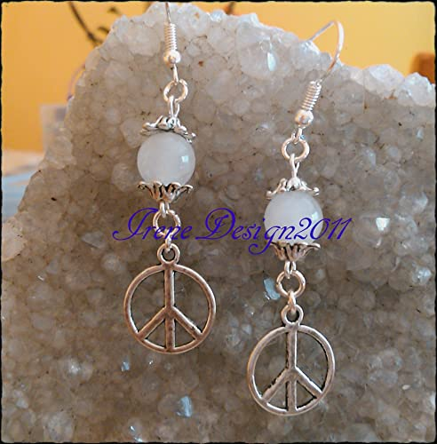 White Opal & Peace Earrings.