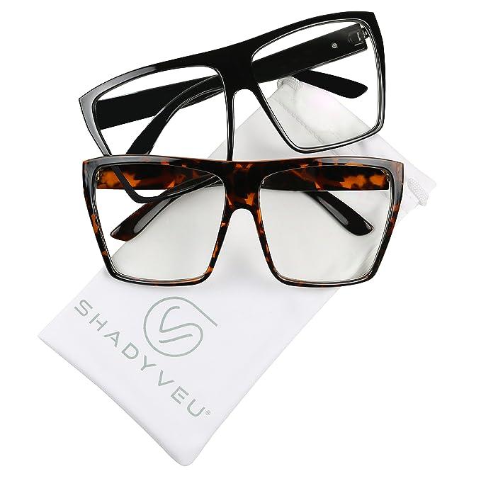 031e94bdcf ShadyVEU - Exclusive XL Large Oversized Kim K Trapezoid Square Clear Lens  Frames Retro Sunglasses (