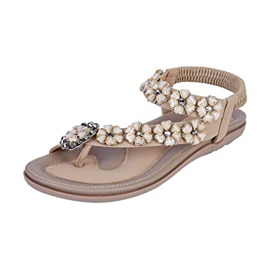 Colgo Women's Thong Flat Sandals, Casual Glitter Beaded Flip Flops Sandals Comfortable Sling Back Slip on Summer Beach Shoes | Flip-Flops