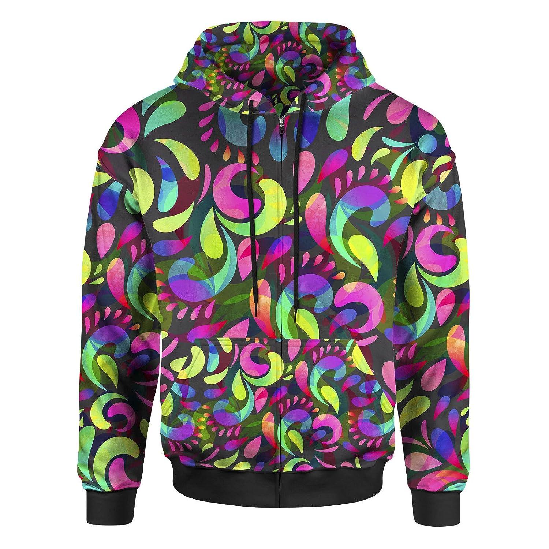 Neon Watercolor Swirls Women Zip Up Hoodie