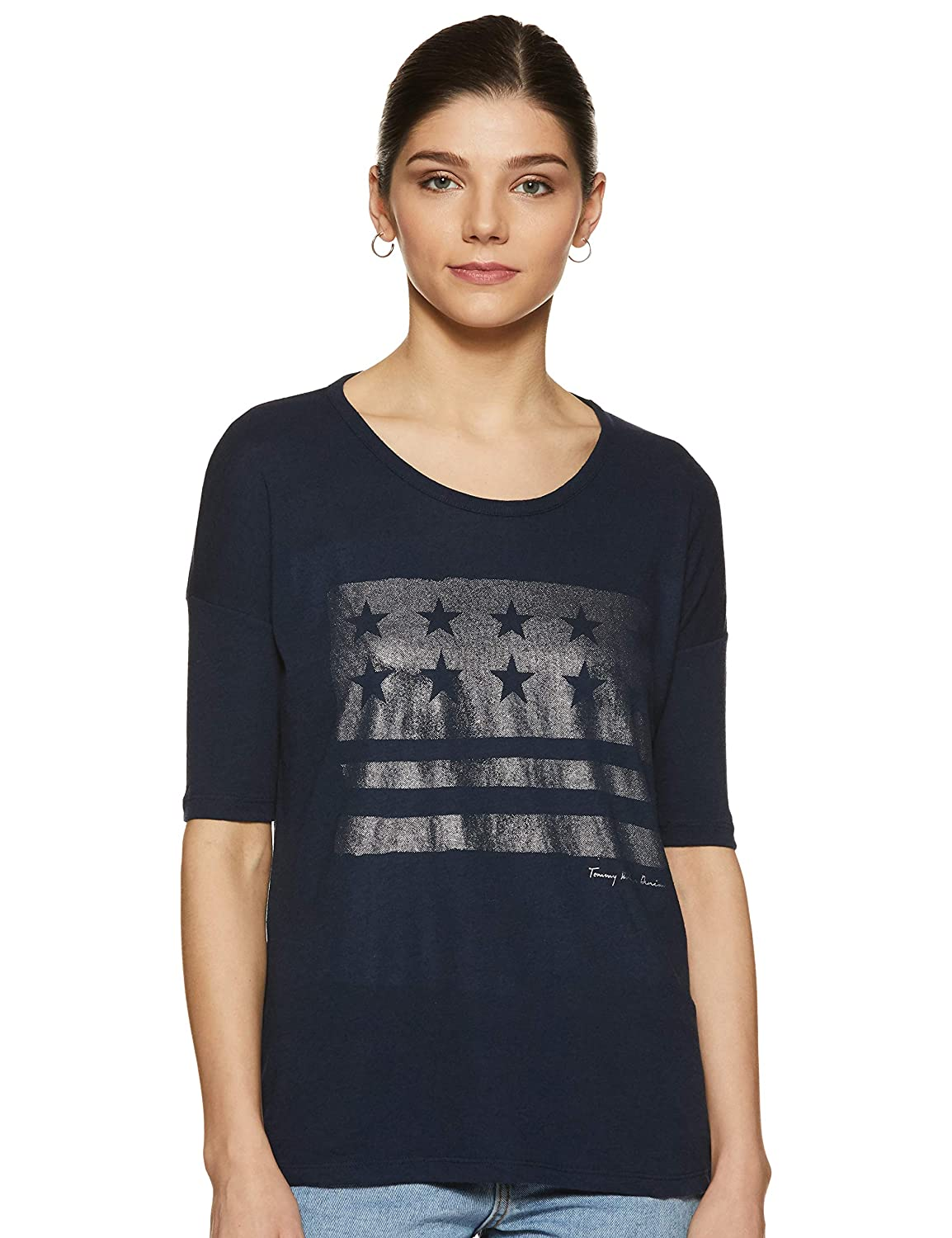 03c18dc4 Tommy Hilfiger Women's Plain T-Shirt: Amazon.in: Clothing & Accessories