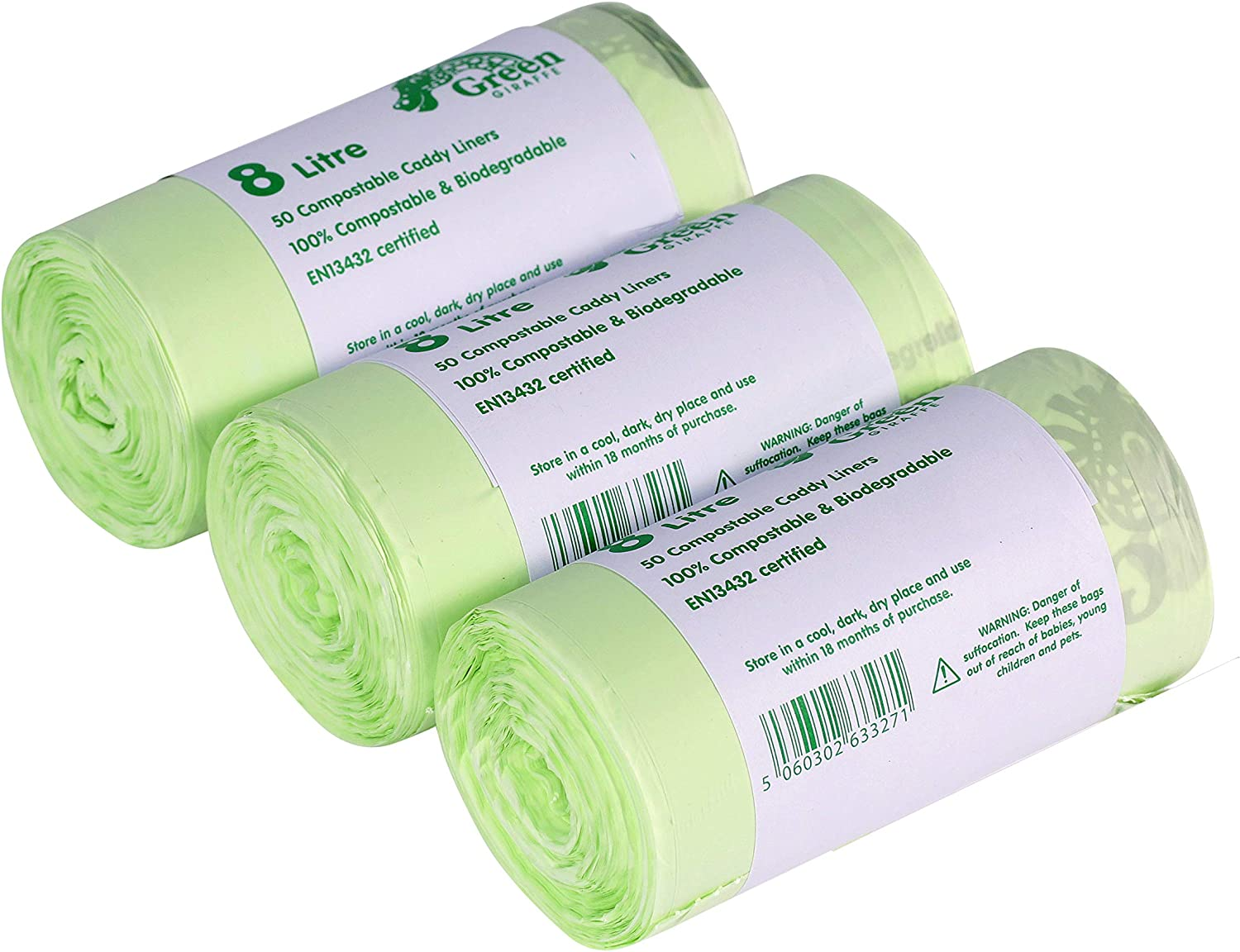 150x 8L Compostable Caddy Liners - 7 Litre / 8 Litre Degradable ...