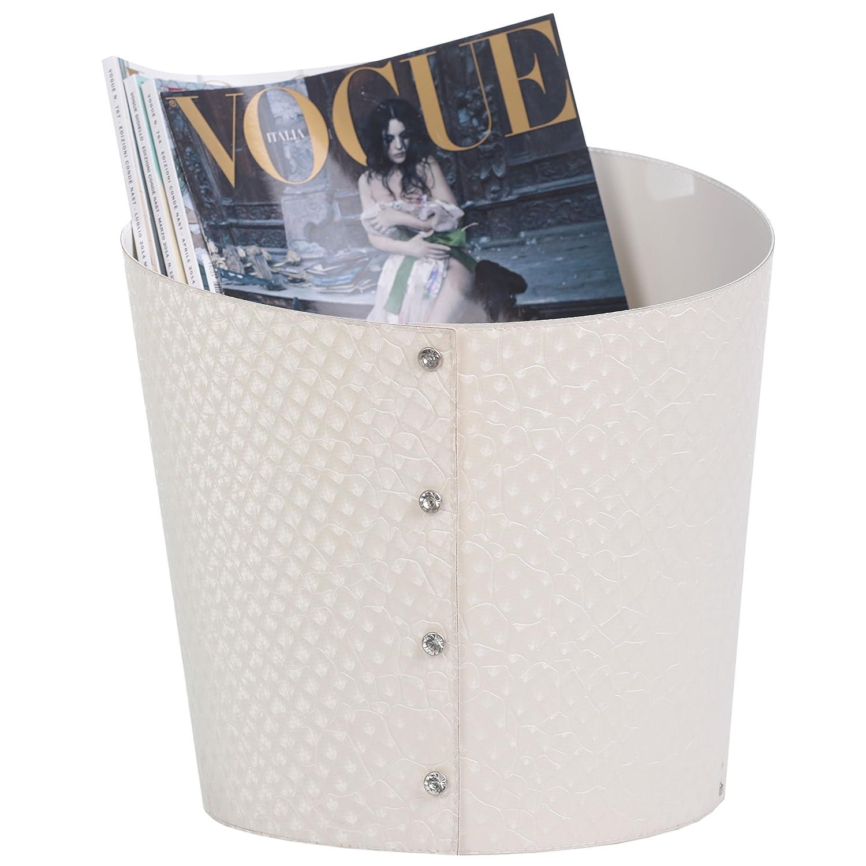 Portariviste//Porta riviste in ecopelle della linea Slice colore Elephant Bianco cm.29X31H Disponibile in vari colori.