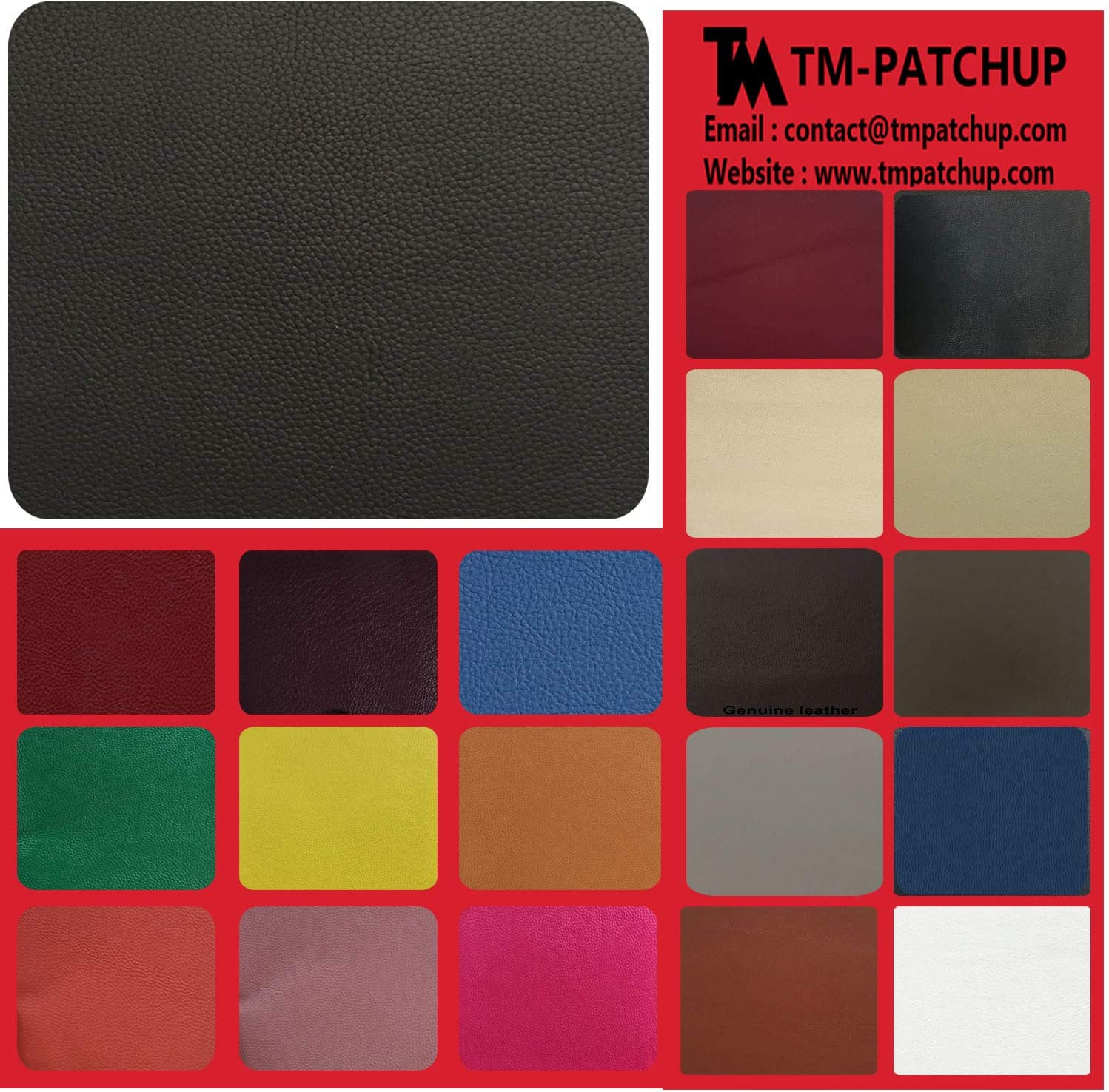 TMgroup, Leather Patches for Furniture, Genuine Leather Repair Patch kit, Peel and Stick for Couch, Sofas, car Seats, Hand Bags,Furniture, Size 6-inch x 3-inch (Black, Quantity : 1)