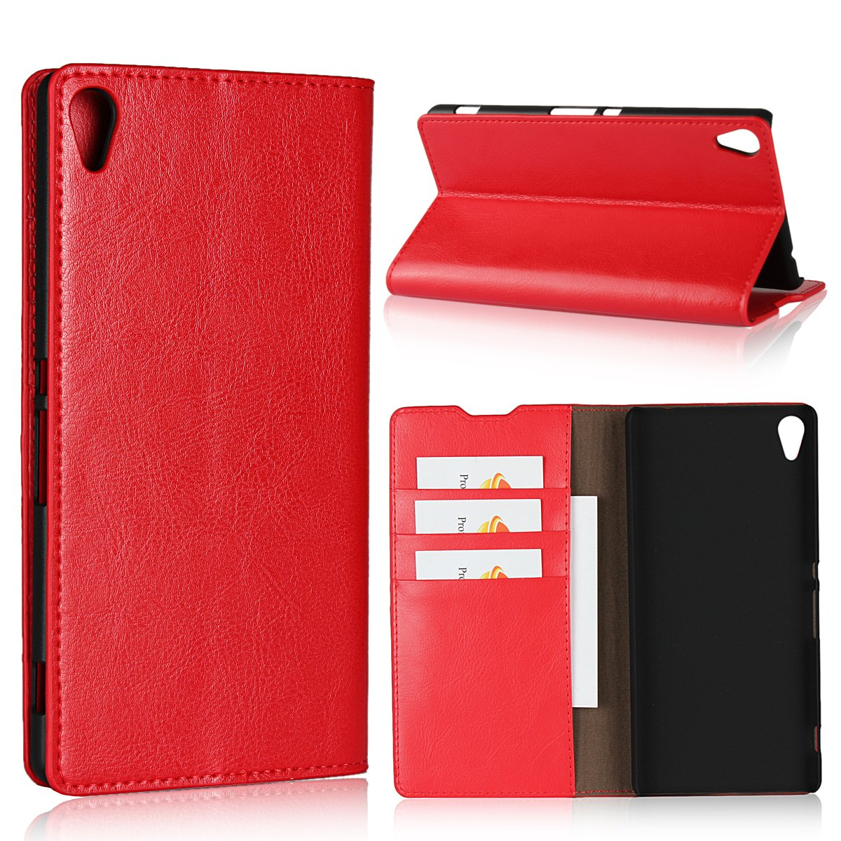best website fa894 ddf31 Sony Xperia XA Ultra Case,iCoverCase Genuine Leather Wallet Case [Slim Fit]  Folio Book Design with Stand and Card Slots Flip Case Cover for Sony ...