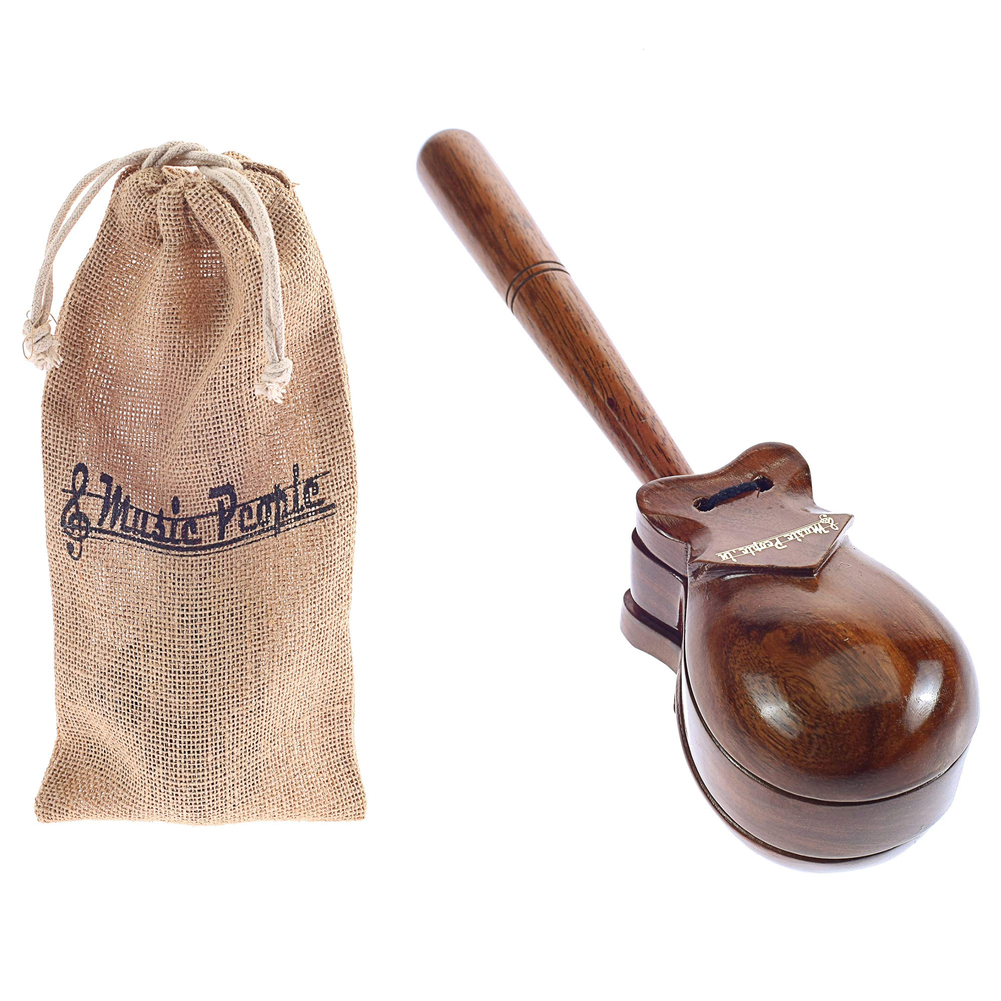 Music People Single Castanet With Handle (Wooden Gloss Laquer) with Canvas Carry Bag is an ideal Percussion Instrument for Stage/Solo Performances & Music Education by Music School by MusicPeople