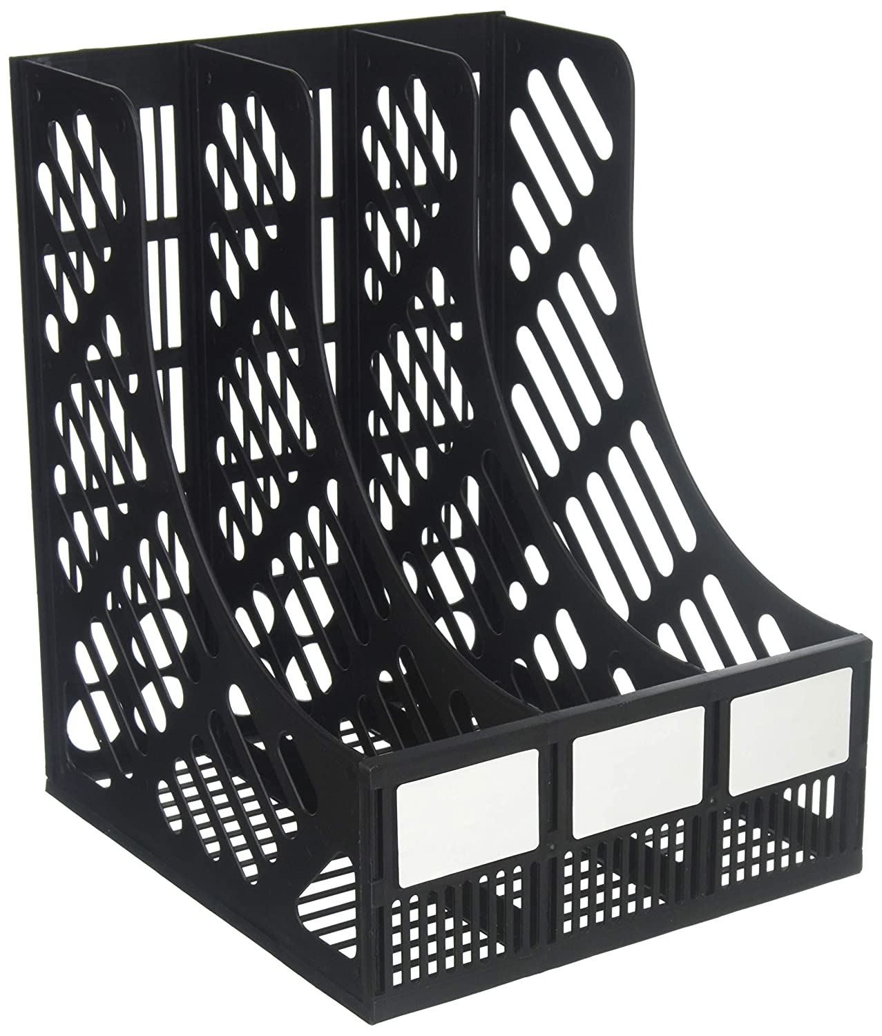 Evelots 3-Compartment File & Magazine Desktop Rack Holder Organizer, Black Green Mountain Imports 3351