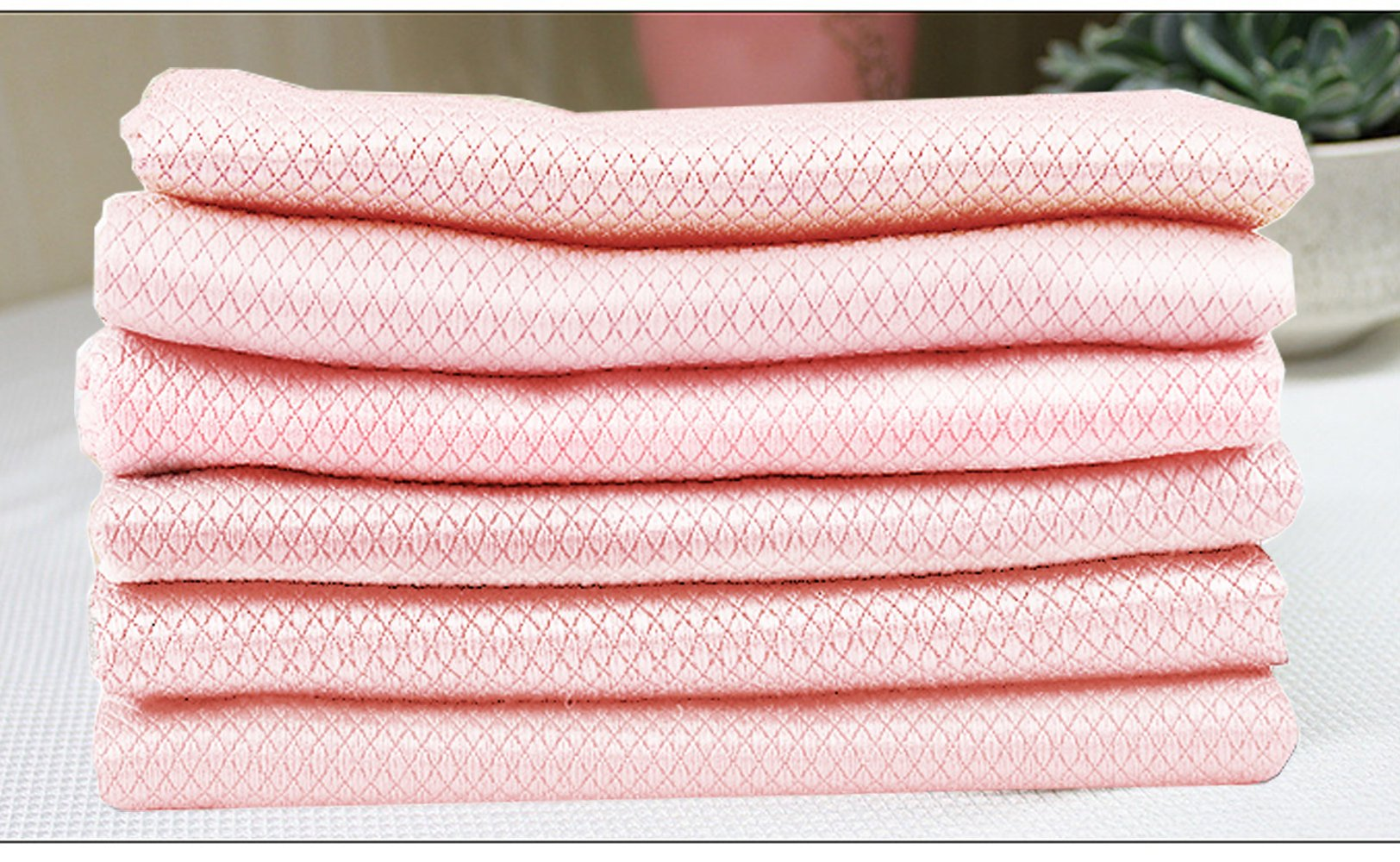 12 Pack 12''x16'' Pink Microfiber Cleaning Cloths Ultra Soft Super Absorbent Dust/Polishing/Dish Cloths For Cleaning TV or Computer Screems/Glasses/Kitchens/Automotive/Electronics