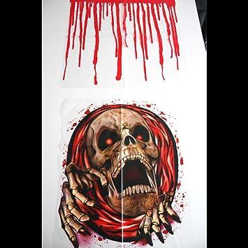 2pc Halloween Toilet Seat Stickers Blood Zombie Skeleton Party Decoration Scary