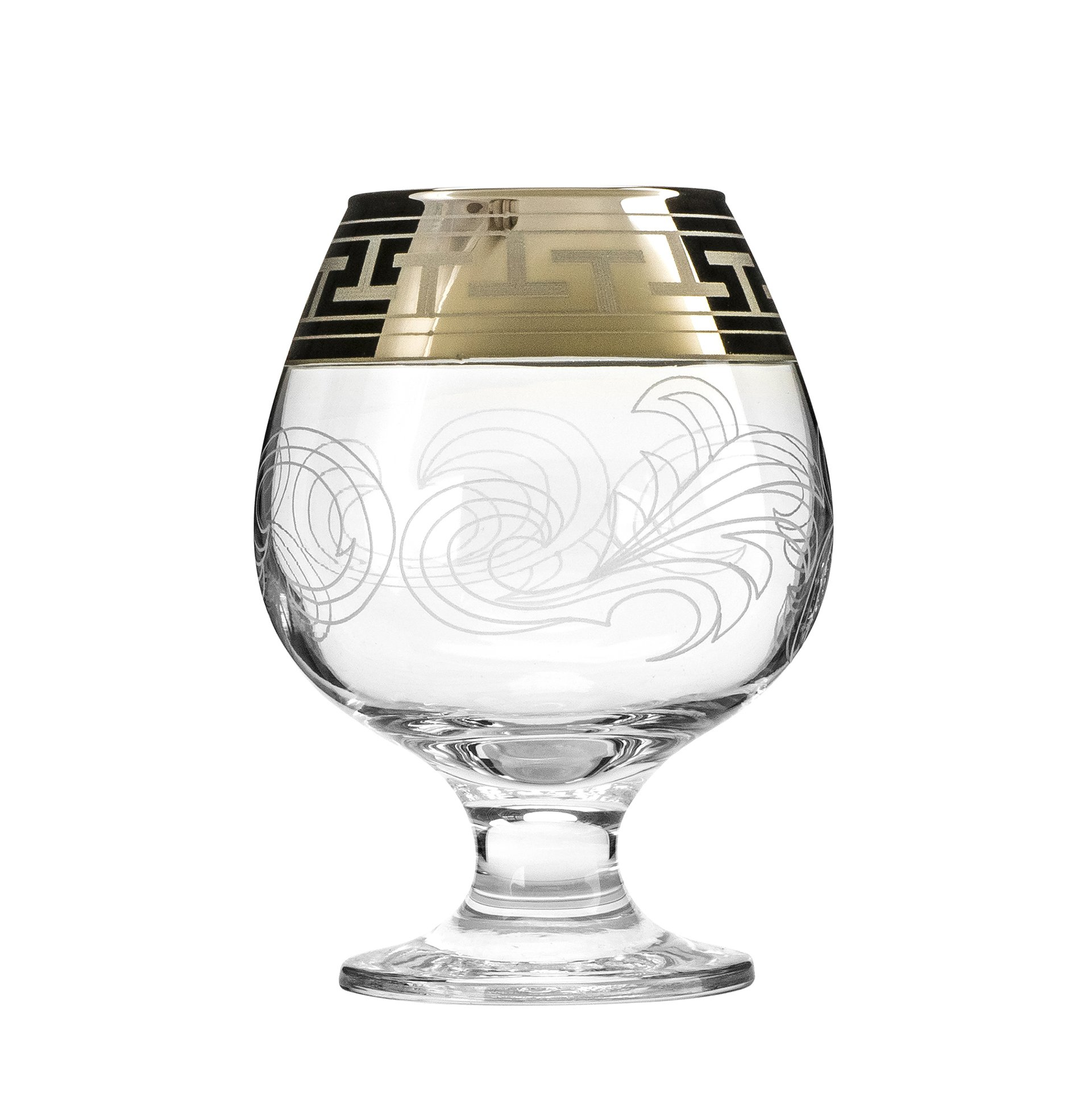 Crystal Goose, 13.5 Oz. Brandy Glasses with Gold Rim, Scotch Whiskey Bourbon Snifters on a Stem, Wedding Drinkware, Gift Box Set of 6