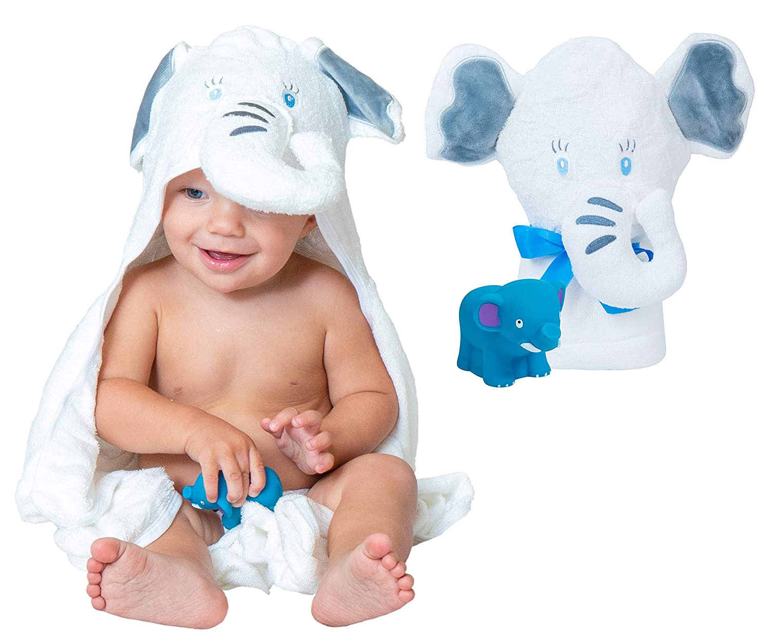 """Organic Bamboo Baby Hooded Towel – Luxury Baby Bath Towel with Elephant Hood, Safe for Newborns with Sensitive Skin – Large Premium Hooded Towels for Boys & Girls + Bonus Bath Toy by Pupiki, 40x28"""""""