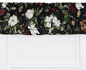 Ellis Curtain Garden Images Large Scale Floral Print Tailored Valance, 50 by 15-Inch, Black