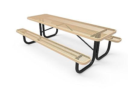 Excellent Coated Outdoor Furniture T8 Tan Rectangular Portable Picnic Table 8 Feet Tan Customarchery Wood Chair Design Ideas Customarcherynet