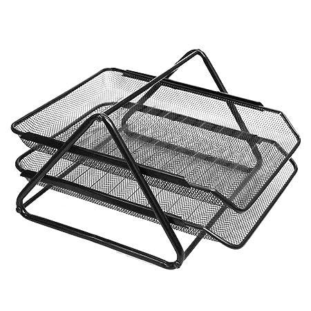 Soporte de malla de metal apilable de 2 niveles, bandeja organizadora para revistas, cartas, documentos, hogar, oficina, escritorio, color negro: Amazon.es: ...