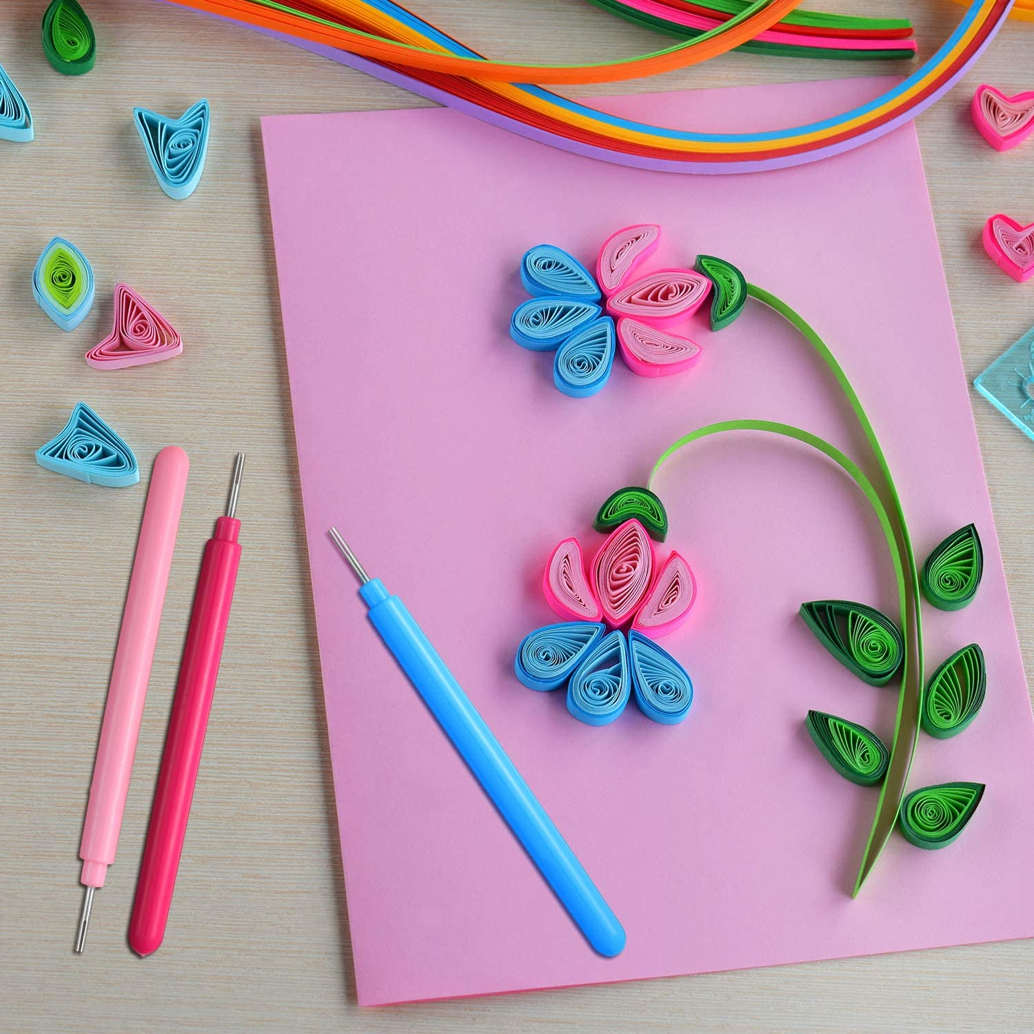 4 Colors 12 Pieces Paper Quilling Tools Rolling Curling Quilling Needle Pen DIY Cardmaking Paper Quilling Pen for Art Craft Handmade Tools