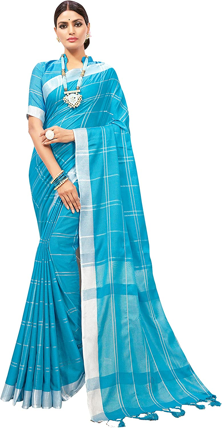 Sarees for Women Linen Cotton Silk Saree l Indian Ethnic Wedding Diwali Gift Sari with Unstitched Blouse