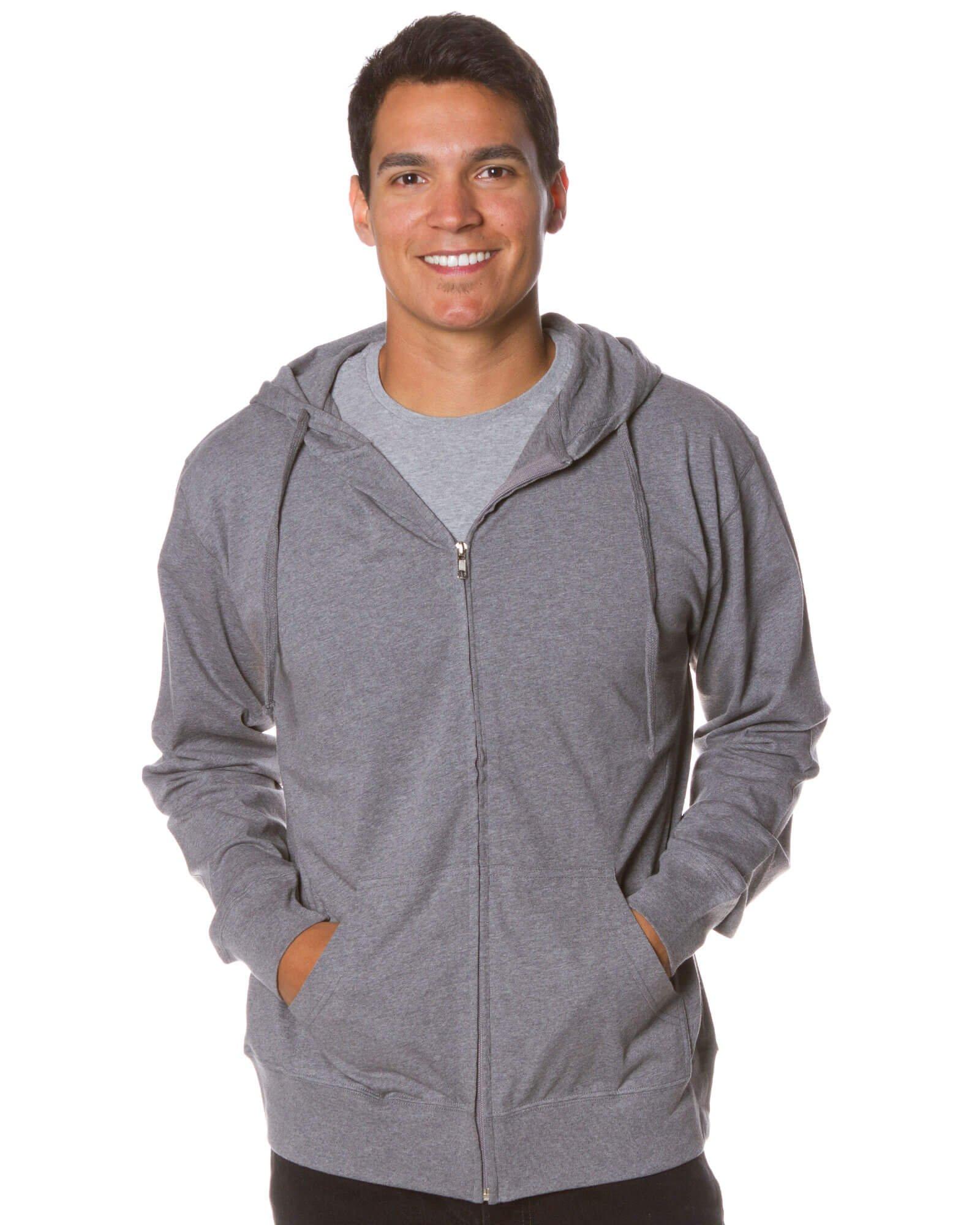 Global Men's Lightweight T-Shirt Jersey Full Zip Up Hoodie Sweatshirt XXL Gunmetal Heather
