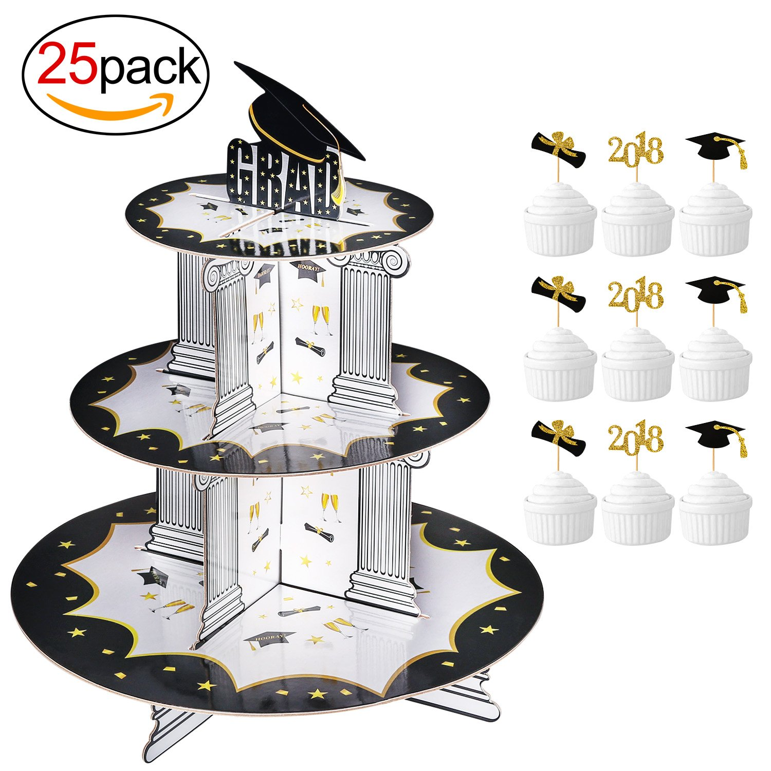 Graduation Cupcake Holder & BONUS Picks Set (25Pack)