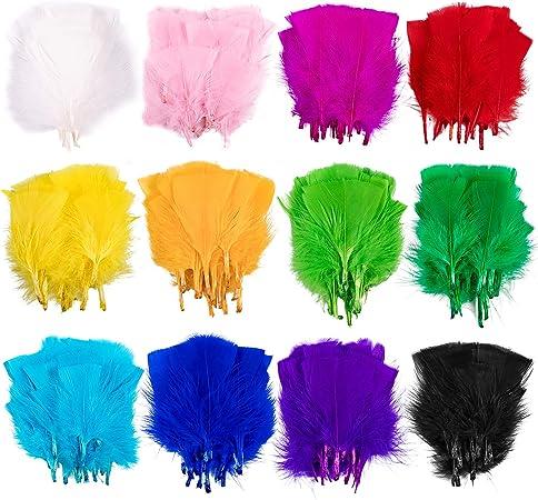 Whaline 360Pcs Plumas de Colores, 12 Colores Mini Manualidades Planas Plumas de Ganso para DIY Aretes Hogar Boda Fiesta Baby Shower Decoraciones (1.6-2.8 pulgadas): Amazon.es: Hogar