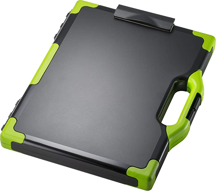 Officemate OIC Carry-All Clipboard Storage Box, Letter/Legal Size, Black & Green (83325)