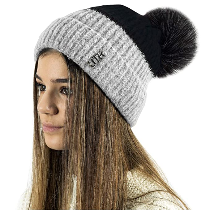 9c7186e9342 Earland Brothers Extra Large Faux Fur Pom Pom Hat Ladies Womens Warm Two  Tone Bobble Beanie Ski Hat (Black 664)  Amazon.co.uk  Clothing