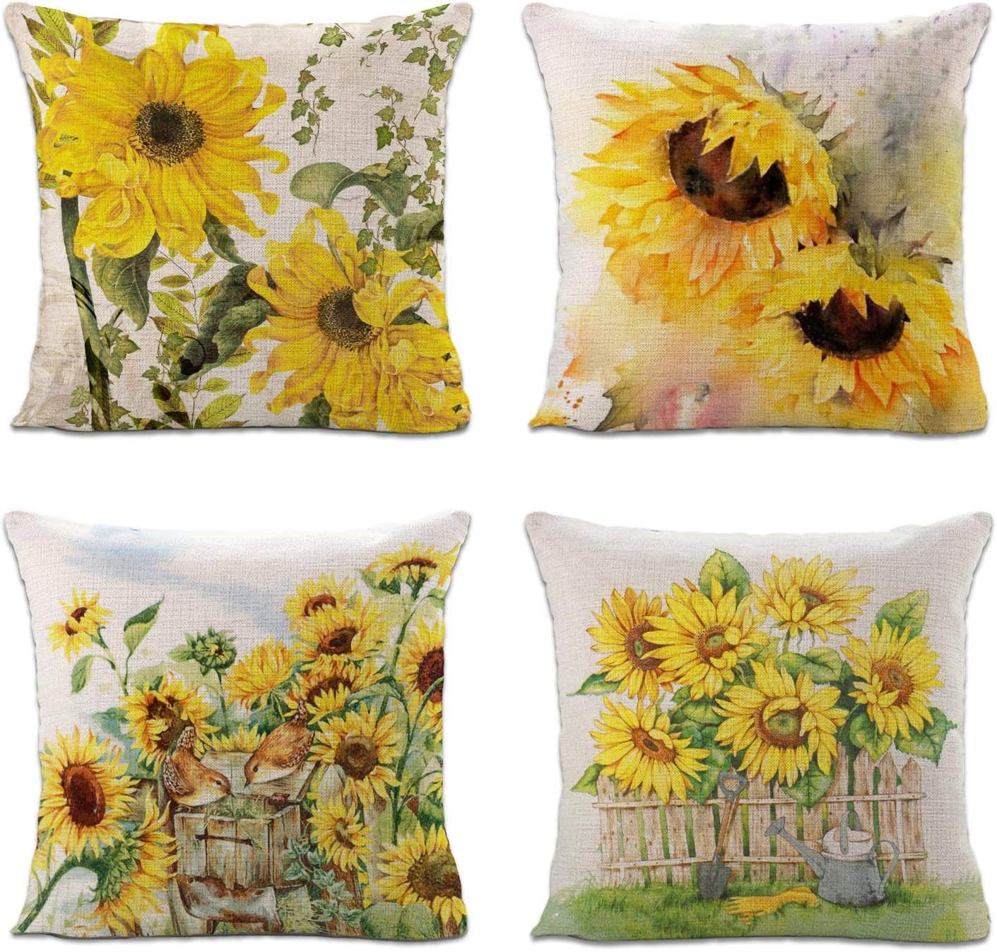Sinpooo Spring Flower Throw Pillow Covers for Home Sofa Bedding Couch, Farmhouse Decorative Cushion Cover with Zipper 18 x 18 Inch (4 Pack Sunflower 1)