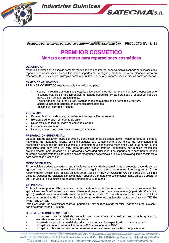 Mortero de rehabilitación cosmética PREMHOR COSMÉTICO - SATECMA ...