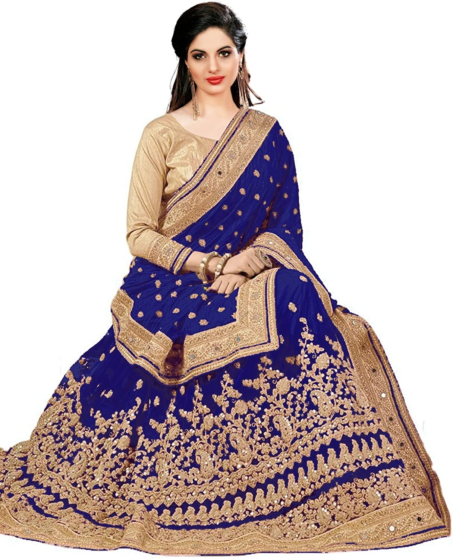Nivah Fashion Damen Seide /& Netz bestickt Saree mit Bluse St/ück K579