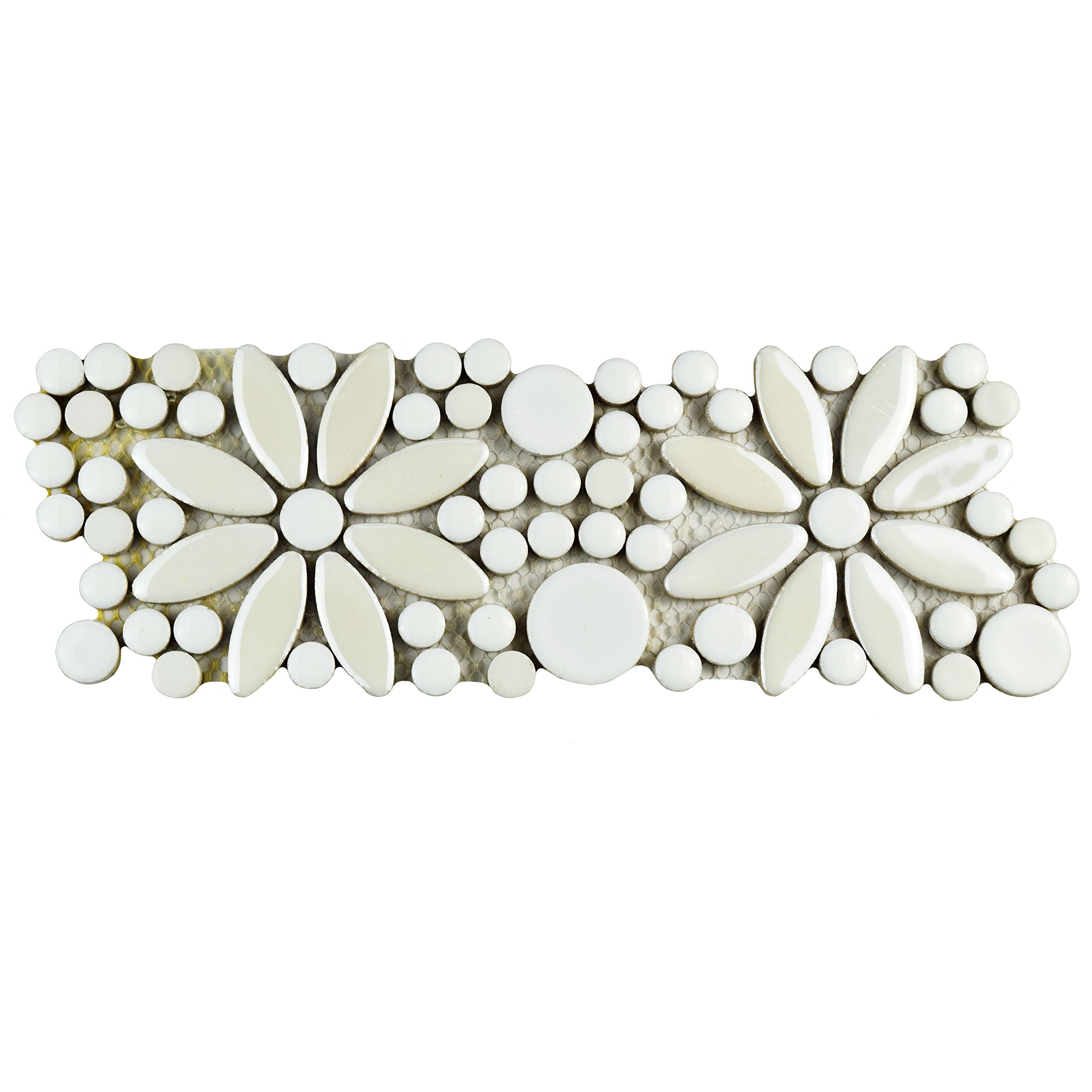 SomerTile FSHGFBWH Ursa Flower Porcelain Mosaic Border Floor and Wall Tile, 4.25'' x 12.75'', White by SOMERTILE