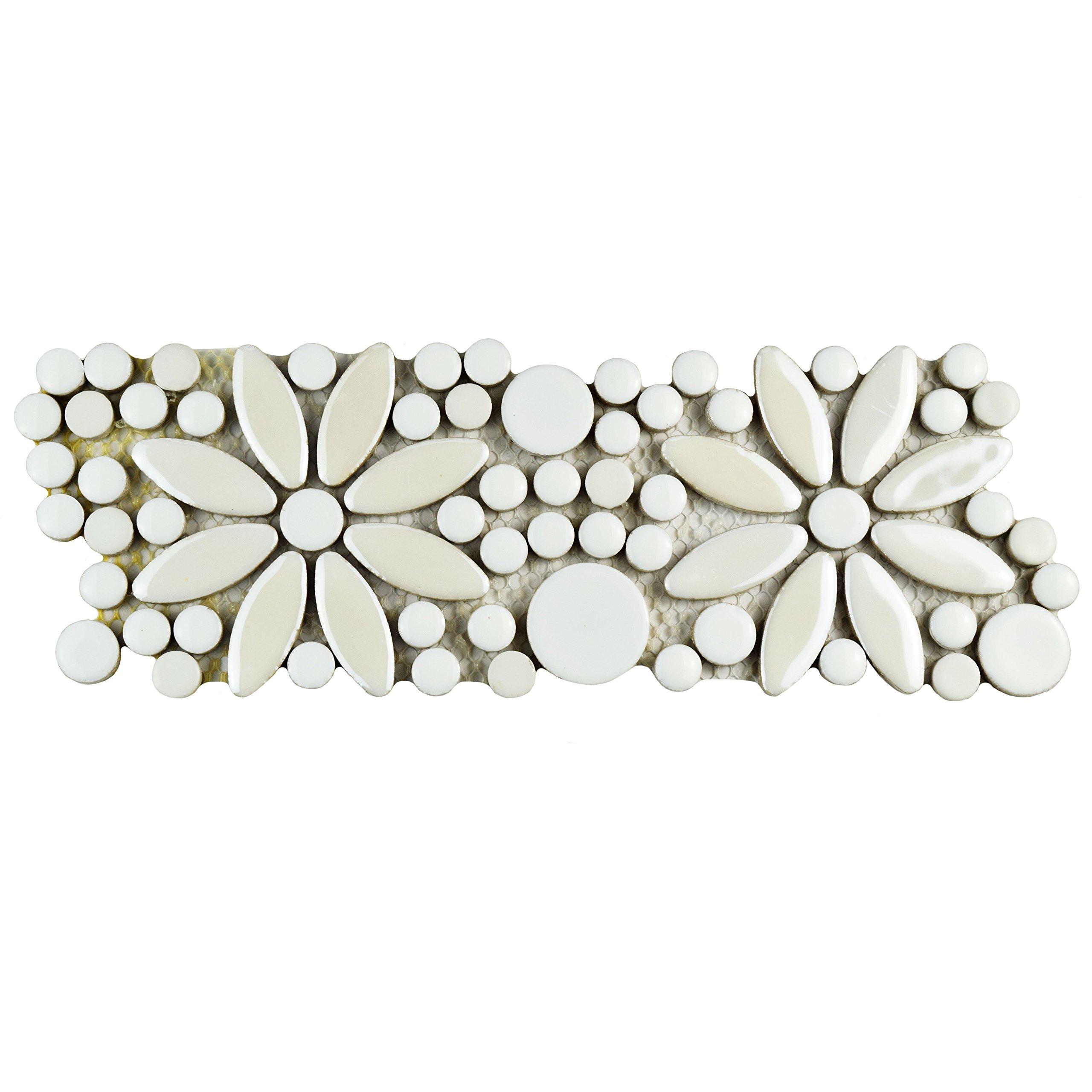 SomerTile FSHGFBWH Ursa Flower Porcelain Mosaic Border Floor and Wall Tile, 4.25'' x 12.75'', White